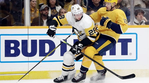 <p>               Pittsburgh Penguins defenseman Marcus Pettersson (28), of Sweden, and Nashville Predators center Nick Bonino (13) chase the puck during the second period of an NHL hockey game Friday, Dec. 27, 2019, in Nashville, Tenn. (AP Photo/Mark Humphrey)             </p>