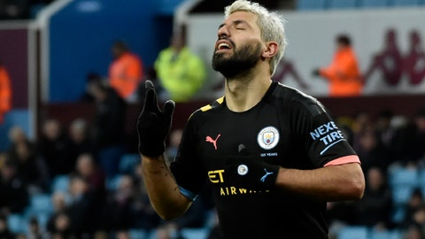 <p>               Manchester City's Sergio Aguero celebrates after scoring his side's sixth goal during the English Premier League soccer match between Aston Villa and Manchester City at Villa Park in Birmingham, England, Sunday, Jan. 12, 2020. (AP Photo/Rui Vieira)             </p>