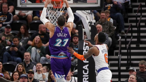 <p>               Utah Jazz center Rudy Gobert (27) dunks after getting past New York Knicks guard Elfrid Payton (6) during the second quarter of an NBA basketball game Wednesday, Jan. 8, 2020, in Salt Lake City. (AP Photo/Chris Nicoll)             </p>