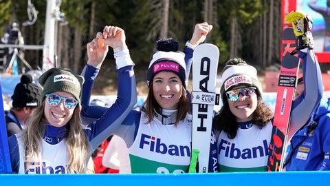 <p>               Italy's Elena Curtoni, center, winner of the alpine ski women's World Cup downhill, celebrates with second placed Italy's Marta Bassino, left, and third placed Italy's Federica Brignone, in Bansko, Bulgaria, Saturday, Jan. 25, 2020. (AP Photo/Giovanni Auletta)             </p>