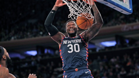 <p>               New York Knicks' Julius Randle dunks the ball during the second half of the NBA basketball game against the Miami Heat, Sunday, Jan. 12, 2020, in New York. The Knicks defeated the Heat 124-121. (AP Photo/Seth Wenig)             </p>