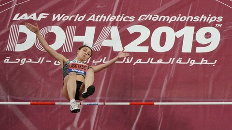 """<p>               FILE - In this file photo dated Monday, Sept. 30, 2019, participating as a neutral athlete Mariya Lasitskene clears the bar during the women's high jump finals at the World Athletics Championships in Doha, Qatar.  Sanctions handed down by the World Anti-Doping Agency on Monday Dec. 9, 2019, mean there won't be a Russian flag or anthem, but athletes including Lasitskene said she's still aiming for the Tokyo Olympics,""""I didn't believe the stories that everything will be fine. What has happened today is a disgrace,"""" she wrote on Instagram. (AP Photo/Morry Gash, FILE)             </p>"""