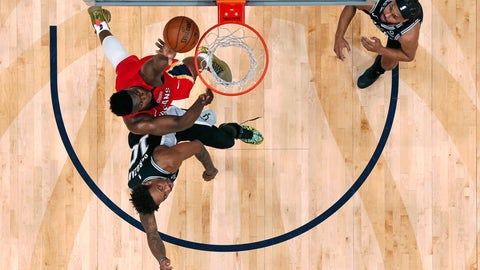 <p>               New Orleans Pelicans forward Zion Williamson goes to the basket against San Antonio Spurs forward DeMar DeRozan (10) in the second half of an NBA basketball game in New Orleans, Wednesday, Jan. 22, 2020. The Spurs won 121-117. (AP Photo/Gerald Herbert)             </p>