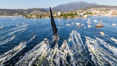 <p>               In a photo provided by Role, Comanche, center, is surrounded by spectator craft on arrival to Hobart, Australia, to claim victory in the Sydney to Hobart yacht race Saturday, Dec. 28, 2019. (Carlo Borlenghi/Rolex via AP)             </p>