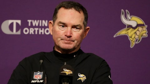 <p>               Minnesota Vikings head coach Mike Zimmer speaks at a news conference after the Vikings were defeated by the San Francisco 49ers in an NFL divisional playoff football game, Saturday, Jan. 11, 2020, in Santa Clara, Calif. (AP Photo/Marcio Jose Sanchez)             </p>