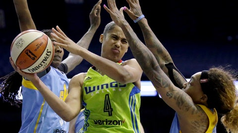 <p>               FILE - In this Wednesday, Aug. 30, 2017, file photo, Dallas Wings guard Skylar Diggins-Smith, center, looks to pass against Chicago Sky forward Jessica Breland, left, and guard Cappie Pondexter during the second half of a WNBA basketball game in Rosemont, Ill. Diggins-Smith wants to find a new team to play for in the 2020 WNBA season. (AP Photo/Nam Y. Huh, File)             </p>