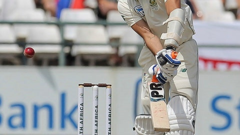 <p>               South Africa's batsman Keshav Maharaj breaks his bat off the bowling by England's bowler Jimmy Anderson during day five of the second cricket test between South Africa and England at the Newlands Cricket Stadium in Cape Town, South Africa, Tuesday Jan. 7, 2020. (AP Photo/Halden Krog)             </p>