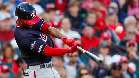 <p>               FILE - In this Oct. 12, 2019, file photo, Washington Nationals' Michael A. Taylor hits a home run during the third inning of Game 2 of the baseball National League Championship Series against the St. Louis Cardinals in St. Louis. Taylor and the Nationals agreed Thursday, Jan. 9, 2020, to a one-year contract for $3,325,000, up slightly from his $3.25 million salary last season, when the outfielder lost an arbitration hearing. (AP Photo/Jeff Roberson, File)             </p>