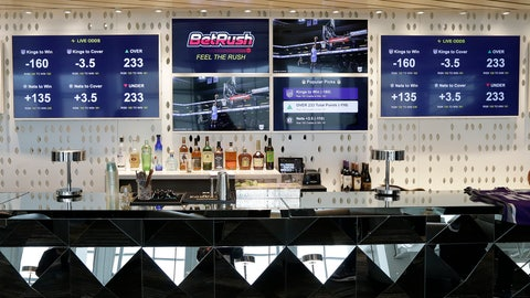 <p>               FILE - In this March 19, 2019, file photo, video screens display the types of bets that can be placed at the Golden 1 Center's Skyloft Predictive Gaming Lounge, in Sacramento, Calif. Professional sports leagues have found a way to cash in by selling their official data to gambling companies, making the case that the leagues are creating new products for gamblers to bet on. (AP Photo/Rich Pedroncelli, File)             </p>