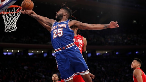 <p>               Portland Trail Blazers center Hassan Whiteside (21) interrupts a shot by New York Knicks guard Reggie Bullock (25) during the second half of an NBA basketball game in New York, Wednesday, Jan. 1, 2020. (AP Photo/Kathy Willens)             </p>