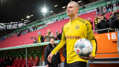 <p>               Dortmund's Erling Haaland comes with ball in hand to warm up for a German Bundesliga soccer match between FC Augsburg and Borussia Dortmund in Augsburg, Germany, Saturday, Jan.18, 2020. ( Tom Weller/dpa via AP)             </p>