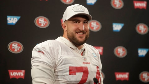 <p>               San Francisco 49ers offensive tackle Joe Staley speaks during a news conference at the team's NFL football training facility in Santa Clara, Calif., Thursday, Jan. 23, 2020. The 49ers will face the Kansas City Chiefs in Super Bowl 54. (AP Photo/Jeff Chiu)             </p>