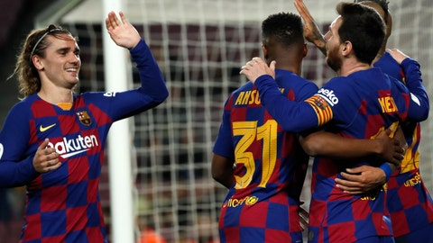 <p>               Barcelona's Lionel Messi, right, celebrates with teammates after scoring his side's third goal during a Spanish Copa del Rey soccer match between Barcelona and Leganes at the Camp Nou stadium in Barcelona, Spain, Thursday, Jan. 30, 2020. (AP Photo/Joan Monfort)             </p>