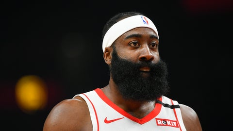 <p>               Houston Rockets guard James Harden (13) looks on during the first half of an NBA basketball game againsty the Atlanta Hawks, Wednesday, Jan. 8, 2020, in Atlanta. (AP Photo/John Amis)             </p>