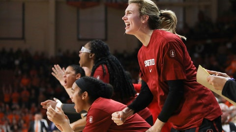 <p>               Stanford's Estella Moschkau (20) and the rest of the Stanford bench react to an official ruling during the second half of an NCAA college basketball game against Oregon State in Corvallis, Ore., Sunday, Jan. 19, 2020. (AP Photo/Amanda Loman)             </p>