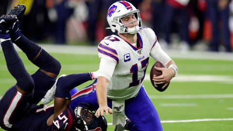 <p>               Buffalo Bills quarterback Josh Allen (17) is sacked by Houston Texans linebacker Jake Martin (54) during the second half of an NFL wild-card playoff football game Saturday, Jan. 4, 2020, in Houston. (AP Photo/Michael Wyke)             </p>