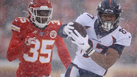 <p>               Denver Broncos tight end Noah Fant (87) makes a catch in front of Kansas City Chiefs cornerback Charvarius Ward (35) during the first half of an NFL football game in Kansas City, Mo., Sunday, Dec. 15, 2019. (AP Photo/Charlie Riedel)             </p>