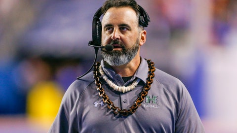 <p>               FILE - In this Saturday, Oct. 12, 2019, file photo, Hawaii head coach Nick Rolovich walks the sideline during the second half of an NCAA college football game against Boise State, in Boise, Idaho. Washington State is close to finalizing an agreement with Rolovich to take over as the Cougars' head football coach, according to two people with knowledge of the situation. (AP Photo/Steve Conner, File)             </p>