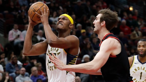 <p>               Indiana Pacers' Myles Turner, left, drives to the basket against Chicago Bulls' Luke Kornet during the first half of an NBA basketball game in Chicago, Friday, Jan. 10, 2020. (AP Photo/Nam Y. Huh)             </p>