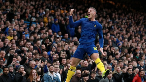 <p>               Chelsea's Ross Barkley celebrates after scoring his side's second goal during an English FA Cup third round soccer match between Chelsea and Nottingham Forest at Stamford Bridge in London, Sunday, Jan. 5, 2020. (AP Photo/Ian Walton)             </p>