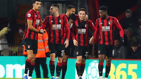 <p>               Bournemouth's Harry Wilson, second right, celebrates scoring his side's first goal of the game against Brighton and Hove Albion during their English Premier League soccer match at the Vitality Stadium in Bournemouth, England, Tuesday Jan. 21, 2020. (Mark Kerton/PA via AP)             </p>