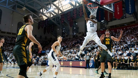 <p>               Penn State's Izaiah Brockington, center, goes up for the shot with Iowa's Luka Garza, right, defending during the first half of an NCAA college basketball game Saturday, Jan. 4, 2020, in Philadelphia. (AP Photo/Chris Szagola)             </p>