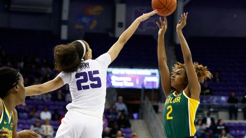 <p>               Baylor guard DiDi Richards (2) shoots over TCU guard Kianna Ray (25) during the first half of an NCAA college basketball game in Fort Worth, Texas, Wednesday, Jan. 22, 2020. (AP Photo/Ray Carlin)             </p>
