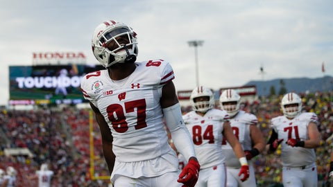 <p>               Wisconsin wide receiver Quintez Cephus celebrates after scoring against Oregon during first half of the Rose Bowl NCAA college football game Wednesday, Jan. 1, 2020, in Pasadena, Calif. (AP Photo/Mark J. Terrill)             </p>