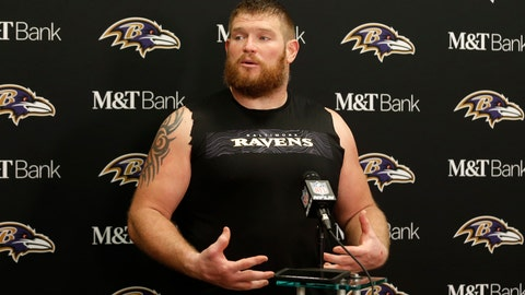 <p>               Baltimore Ravens offensive guard Marshal Yanda answers questions at a news conference after the Ravens defeated the Cleveland Browns in an NFL football game, Sunday, Dec. 22, 2019, in Cleveland. (AP Photo/Ron Schwane)             </p>