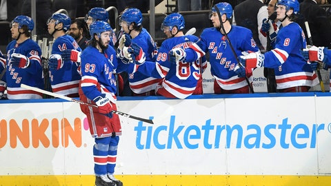 <p>               New York Rangers center Mika Zibanejad (93) is congratulated after scoring a goal during the third period of the team's NHL hockey game against the Detroit Red Wings, Friday, Jan. 31, 2020, in New York. This was Zibanejad's 200th point scored while with the Rangers. (AP Photo/Sarah Stier)             </p>