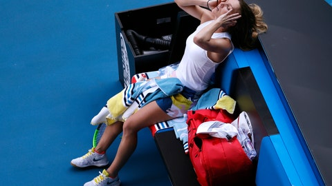 <p>               Romania's Simona Halep reacts during her semifinal loss to Spain's Garbine Muguruza at the Australian Open tennis championship in Melbourne, Australia, Thursday, Jan. 30, 2020. (AP Photo/Andy Wong)             </p>