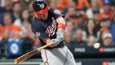 "<p>               FILE - In this Oct. 22, 2019, file photo, Washington Nationals' Ryan Zimmerman hits a home run during the second inning of Game 1 of the baseball World Series against the Houston Astros in Houston. A person familiar with the negotiations tells the AP that ""face of the franchise"" Zimmerman and the Nationals have agreed to terms on a $2 million deal for 2020. The deal is pending a physical. (AP Photo/David J. Phillip, File)             </p>"