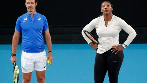 <p>               United States' Serena Williams and her coach Patrick Mouratoglou react during a practice session ahead of the Australian Open tennis championship in Melbourne, Australia, Friday, Jan. 17, 2020. (AP Photo/Lee Jin-man)             </p>