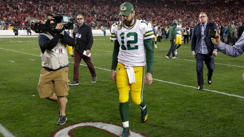 <p>               Green Bay Packers quarterback Aaron Rodgers leaves the field after their loss against the San Francisco 49ers in the NFL NFC Championship football game Sunday, Jan. 19, 2020, in Santa Clara, Calif. The 49ers won 37-20 to advance to Super Bowl 54 against the Kansas City Chiefs. (AP Photo/Matt York)             </p>