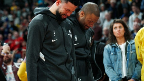 <p>               Houston Rockets guard Austin Rivers and forward P.J. Tucker react during a tribute to NBA star Kobe Bryant before an NBA basketball game against the Denver Nuggets, Sunday, Jan. 26, 2020, in Denver. Bryant died in a California helicopter crash Sunday. (AP Photo/David Zalubowski)             </p>