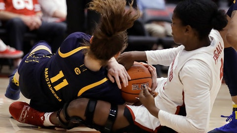 <p>               California guard Sara Anastasieska (11) fights for the ball with Stanford's Nadia Fingall, right, during the first half of an NCAA college basketball game Friday, Jan. 10, 2020, in Stanford, Calif. (AP Photo/Ben Margot)             </p>