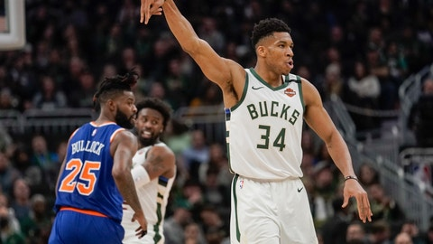 <p>               Milwaukee Bucks' Giannis Antetokounmpo reacts to his three-point basket during the second half of an NBA basketball game against the New York Knicks Tuesday, Jan. 14, 2020, in Milwaukee. (AP Photo/Morry Gash)             </p>