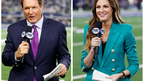 <p>               This combination of  2019 file photos , Fox NFL sideline reporters Chris Myers, left, and Erin Andrews in Arlington, Texas. Myers and rin Andrews will be doing a little bit of everything on the sidelines for Fox's broadcast of Super Bowl 54. Not only will they be filing reports, but will be the eyes and ears for the production truck as well as Joe Buck and Troy Aikman in the booth. (AP Photo/Michael Ainsworth, File)             </p>