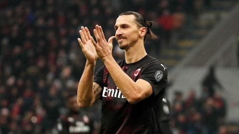 <p>               AC Milan's Zlatan Ibahimovic reacts during the Serie A soccer match between AC Milan and Sampdoria at the San Siro stadium, in Milan, Italy, Monday, Jan. 6, 2020. (AP Photo/Antonio Calanni)             </p>