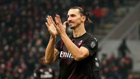 <p>               AC Milan's Zlatan Ibahimovic reacts during the Serie A soccer match between AC Milan and Sampdoria at the San Siro stadium, in Milan, Italy, Monday, Jan. 6, 2020. (AP Photo/Antonio Calanni)             </p>