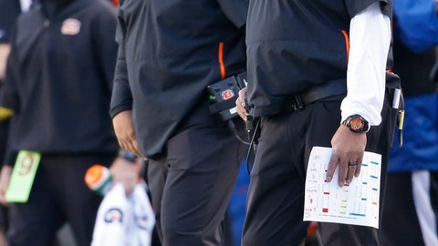 <p>               FILE - In this Dec. 2, 2018, file photo, Cincinnati Bengals head coach Marvin Lewis, right, works the sidelines with special assistant Hue Jackson in the second half of an NFL football game against the Denver Broncos, in Cincinnati. Marvin Lewis and Hue Jackson are back on the sideline as head coaches this week for the NFLPA Collegiate Bowl. (AP Photo/Frank Victores, File)             </p>