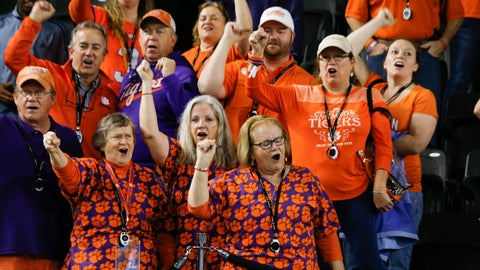 <p>               Clemson fans cheers during media day for NCAA College Football Playoff national championship game Saturday, Jan. 11, 2020, in New Orleans. Clemson is scheduled to play LSU on Monday. (AP Photo/Gerald Herbert).             </p>
