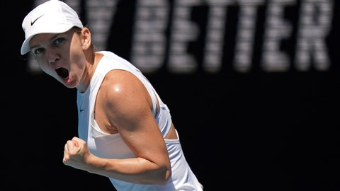 <p>               Romania's Simona Halep reacts after winning a point against Estonia's Anett Kontaveit during their quarterfinal match at the Australian Open tennis championship in Melbourne, Australia, Wednesday, Jan. 29, 2020. (AP Photo/Lee Jin-man)             </p>