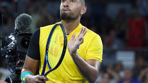 <p>               Nick Kyrgios of Australia reacts after winning his match against Jan-Lennard Struff of Germany at the ATP Cup tennis tournament in Brisbane, Australia, Friday, Jan. 3, 2020. (AP Photo/Tertius Pickard)             </p>