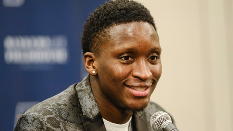 <p>               Indiana Pacers guard Victor Oladipo answers questions during a news conference before an NBA basketball game in Indianapolis, Wednesday, Jan. 8, 2020. Oladipo plans to return to play in a game on Jan. 29, 2020 against the Miami Heat, after a early year long absence due to injury. (AP Photo/AJ Mast)             </p>