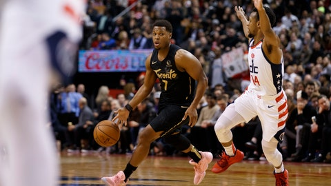 <p>               Toronto Raptors guard Kyle Lowry (7) drives against Washington Wizards guard Ish Smith (14) during the first half of an NBA basketball game Friday, Jan. 17, 2020, in Toronto. (Cole Burston/The Canadian Press via AP)             </p>