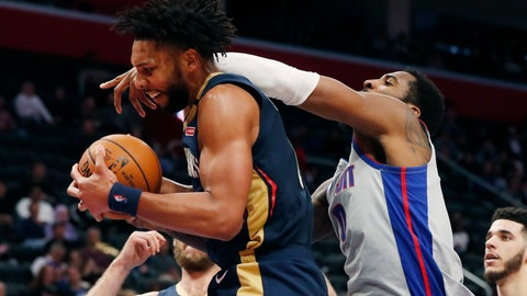 <p>               Detroit Pistons center Andre Drummond, right, reaches in as New Orleans Pelicans center Jahlil Okafor grabs a rebound during the first half of an NBA basketball game, Monday, Jan. 13, 2020, in Detroit. (AP Photo/Carlos Osorio)             </p>