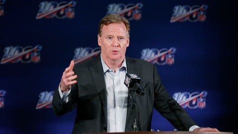 <p>               FILE - In this May 22, 2019, file photo, NFL Commissioner Roger Goodell speaks to the media during an NFL football owners meeting in Key Biscayne, Fla. NFL owners gather for their winter meeting amid talk of labor negotiations, the future of pass interference review and another episode of the New England Patriots being investigated over questions of inappropriate filming of a future opponent's sideline. (AP Photo/Brynn Anderson, File)             </p>