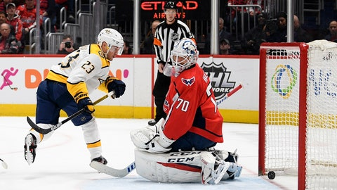 <p>               Nashville Predators right wing Rocco Grimaldi (23) scores a goal against Washington Capitals goaltender Braden Holtby during the first period of an NHL hockey game, Wednesday, Jan. 29, 2020, in Washington. The Predators won 5-4. (AP Photo/Nick Wass)             </p>