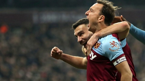 <p>               West Ham United's Mark Noble, celebrates scoring his side's first goal of the game against Bournemouth, during their English Premier League soccer match at the London Stadium, in London, Wednesday Jan. 1, 2020. (Bradley Collyer/PA via AP)             </p>